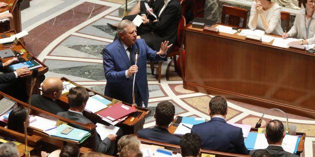 Le Ministre de la Cohésion des territoires Jacques Mézard lors de la session des questions au gouvernement...