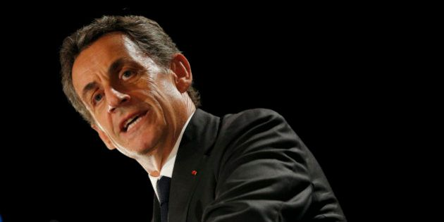 Nicolas Sarkozy, former head of the Les Republicains political party, attends a political rally in Franconville,...