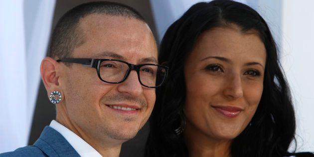 Chester Bennington et sa femme Talinda lors des Billboard Music Awards de Las Vegas, en mai