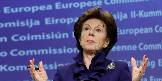 European Digital Agenda Commissioner Neelie Kroes addresses a news conference