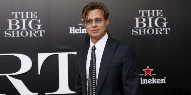 Cast member Brad Pitt poses on the red carpet at the premiere