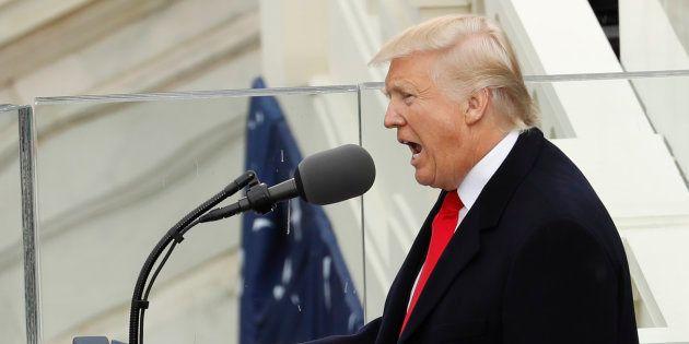 Donald Trump lors de son inauguration devant le Capitole à Washington, le 20