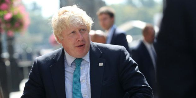 Britain's Foreign Secretary Boris Johnson arrives for the Informal Meeting of EU Foreign Ministers in...