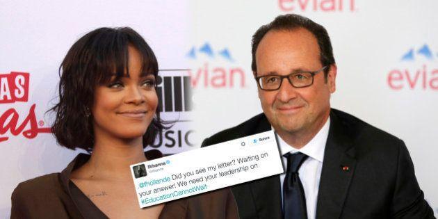 Rihanna a écrit à François Hollande et s'impatiente de ne toujours pas avoir de
