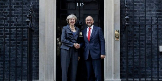 British Prime Minister Theresa May and the President of the European Parliament Martin Schulz perform...
