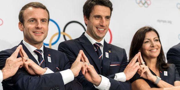 Emmanuel Macron, Tony Estanguet et Anne Hidalgo face au CIO, le 11 juillet à