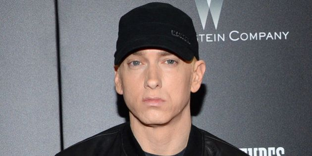 FILE - In this July 20, 2015 file photo, Eminem attends the premiere