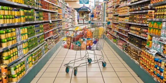 Shopping cart in a grocery