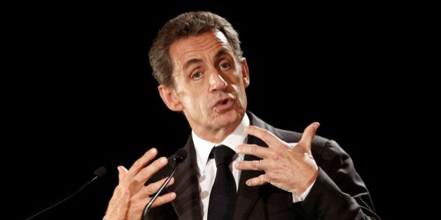 Former French President Nicolas Sarkozy delivers his speech as he runs for the 2017 presidential election,...