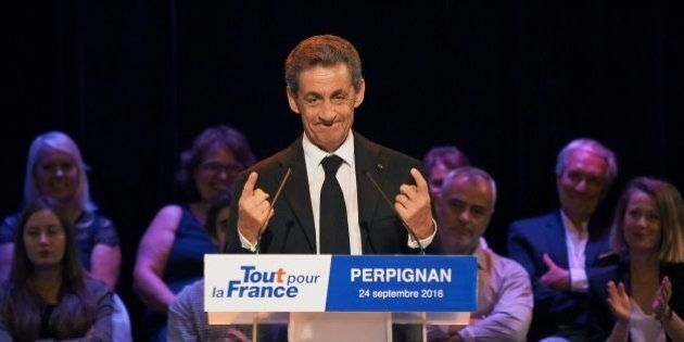 Former French president and candidate for Les Republicains presidential primary elections Nicolas Sarkozy...