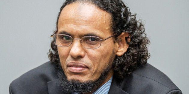 Ahmad al-Faqi al-Mahdi appears at the International Criminal Court in The Hague, Netherlands, August...