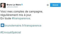 Bruno Le Maire affiche ses dépenses de campagne pendant la diffusion d'un reportage sur