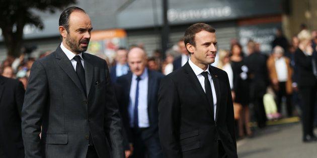 Emmanuel Macron et Edouard Philippe à Saint-Etienne du Rouvray le 26