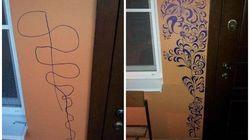 Cette maman a fait du gribouillis de son fils une oeuvre murale