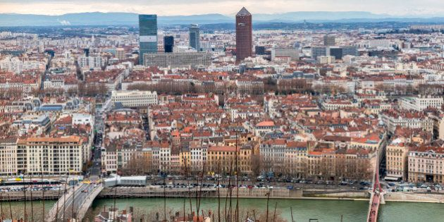 View of Lyon peninsula from Fourviere
