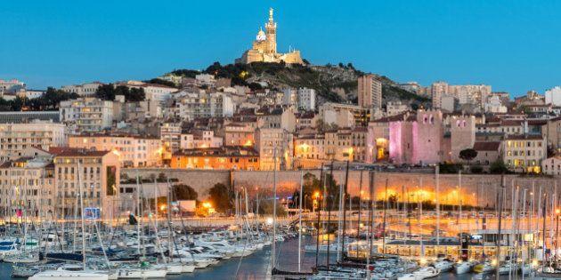 Basilique Notre-Dame de la Garde from the harbour in Marseille, France,