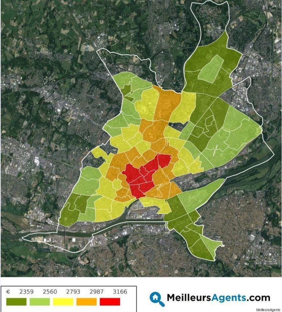 La carte des prix de l'immobilier à Nantes (et dans dix autres grandes