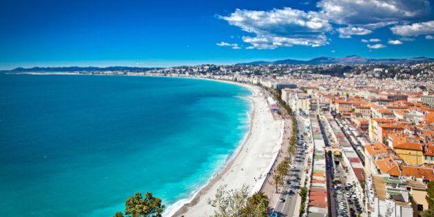 Panoramic view of Nice coastline and beach with blue sky,