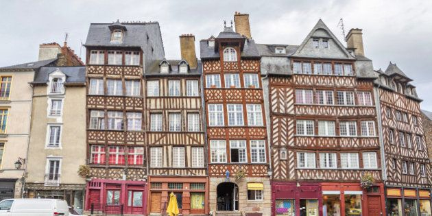 Old half-timbered buildings in Rennes, Brittany,