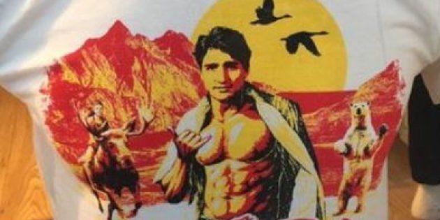 Justin Trudeau représenté sur un tee shirt en