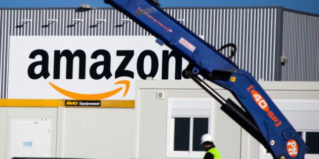 A man works at the new logistics center of online merchant Amazon in Lauwin-Planque, northern France,...