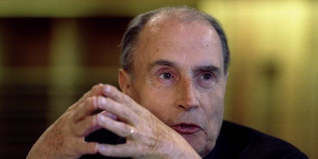 French President Francois Mitterrand makes a speech at an international symposium on development at the...