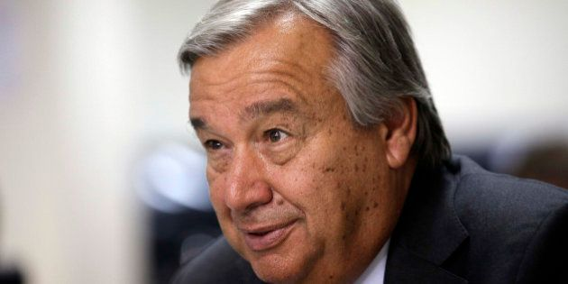 United Nations High Commissioner for Refugees António Guterres speaks during an interview with the Associated...