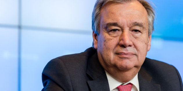 UN High Commissioner for Refugees Antonio Guterres addresses the media during an informal meeting of...