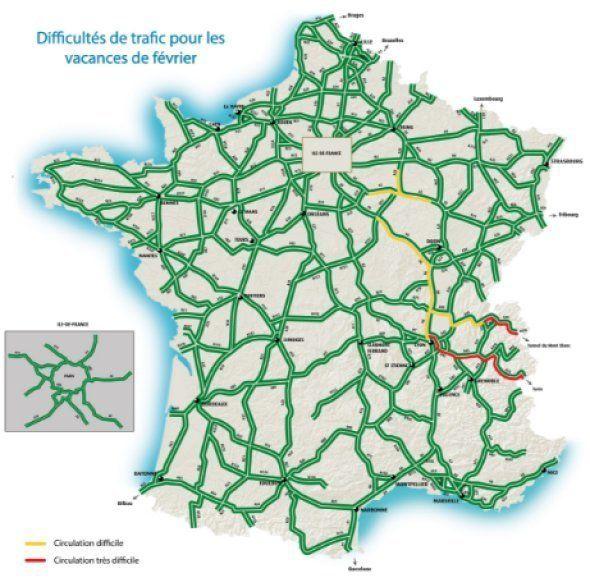Bison futé voit rouge samedi en Auvergne-Rhône-Alpes, trafic difficile en direction des stations
