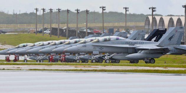 Escadrille en station sur la base de Guam en septembre