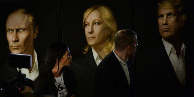 Des portraits de Vladimir Poutine, Marine Le Pen et Donald Trump exposés à