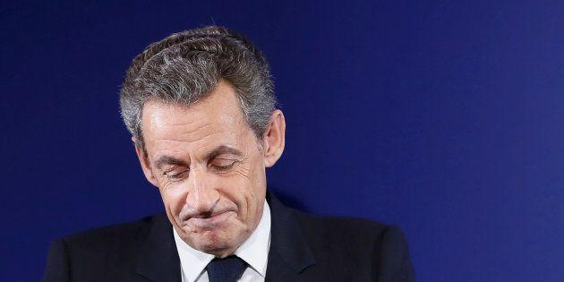 Nicolas Sarkozy à son QG de campagne après sa défaite au premier tour de la primaire de la