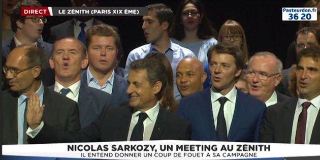 Nicolas Sarkozy lors de son meeting au Zénith de Paris, dimanche 9