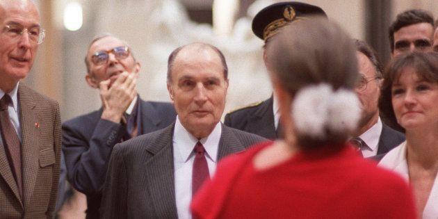 François Mitterrand inaugure le musée d'Orsay le 1er décembre 1986 à Paris, en présence de Valéry Giscard...