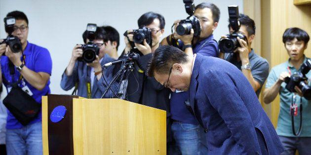 L'arrêt des ventes du Galaxy Note 7 est un coup dur pour Samsung (photo: Dongjin Koh, le nouveau président...