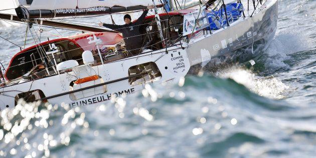 Le skipper Eric Bellion sur son Imoca