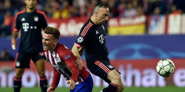 Franck Ribéry et Antoine Griezmann, le 27 avril 2016 lors d'un match de ligue des