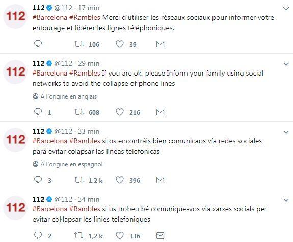 Attentat des Ramblas: Barcelone recommande d'utiliser les réseaux sociaux pour ne pas encombrer les lignes