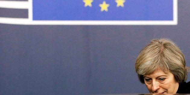 La première ministre britannique Theresa May quittant un sommet européen à Bruxelles, le 15 décembre