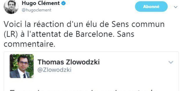 Le tweet d'Hugo Clément, dénonçant la réaction d'un élu de Sens