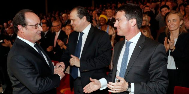 François Hollande, Jean-Christophe Cambadélis et Manuel Valls en mai