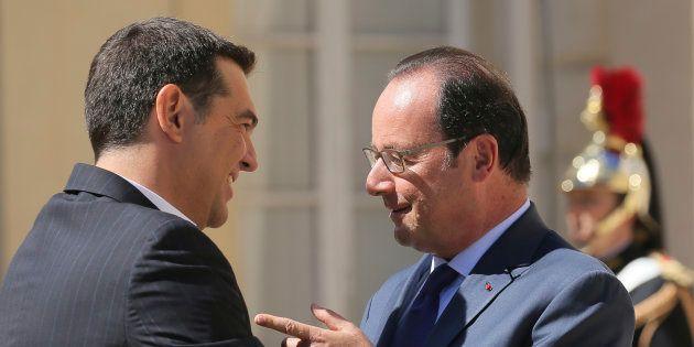 Alexis Tsipras et François Hollande à La Celle Saint-Cloud le 25 août