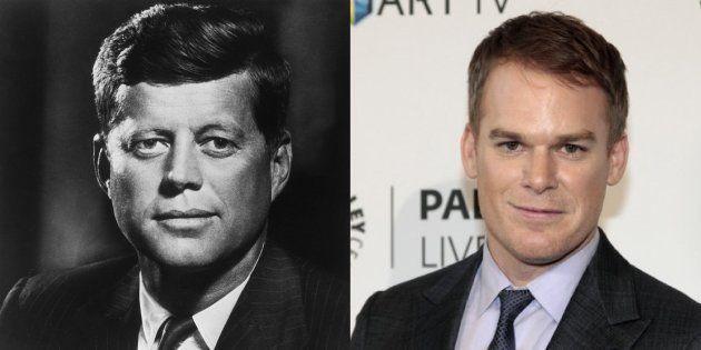 À gauche, une photo officielle de John F. Kennedy en 1960. À droite, l'acteur Michael C. Hall à Beverly...