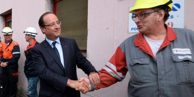François Hollande sur le site de l'usine ArcelorMittal à Florange, en septembre