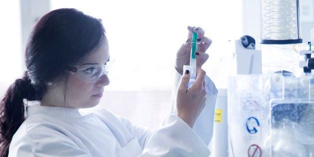 Young female scientist working in a biochemistry