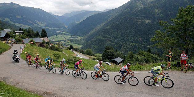 Lors de l'étape du Tour de France Albertville - Saint-Gervais Mont Blanc le 22 juillet