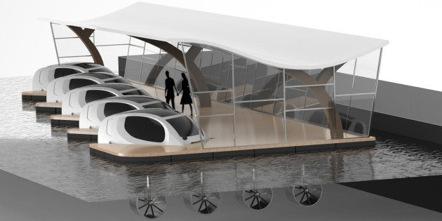 Le quai d'amarrage de ces véhicules de demain utiliserait des hydroliennes et des panneaux solaires pour...