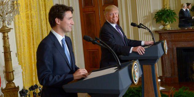 Justin Trudeau et Donald Trump le 13