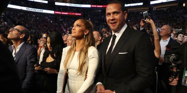 Jennifer Lopez et Alex Rodriguez dans les tribunes du combat de Mayweather et
