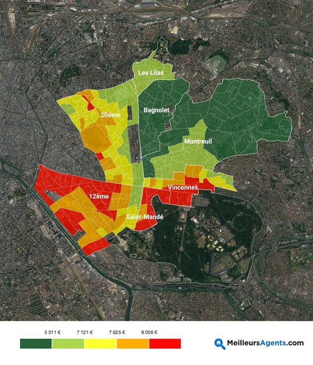 La carte des prix de l'immobilier (et leur évolution) dans l'Est de Paris et sa